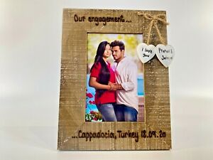Engagement Memory   Names / Date & Place   Personalised Driftwood Photo Frame