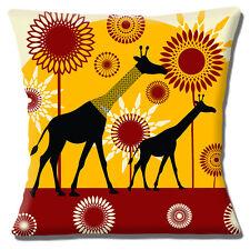 African Giraffe Sun Silhouettes Cushion Cover 16x16 inch 40cm Modern Ethnic