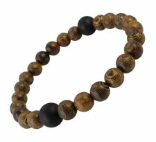 A89 Herren Armband Holz Achat Perlen Boho Mala Biker Rock Surfer Bracelet Men