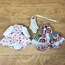 Vtg Doll Clothing Swimsuit, Heart Dress, Green Red Dress