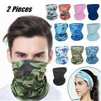 【2 Pieces】Balaclava Scarf Neck Gaiter Fishing Shield Sun Multi-use Head Wear
