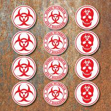 Bio Hazard Advertencia Zombie Sticker Set Pack Rojo Blanco Biohazard coche calcomanías W
