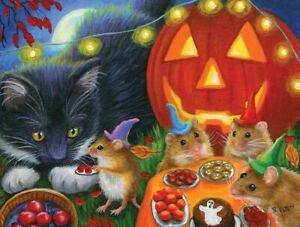 WHISKERS' HALLOWEEN EVE by BRIDGET VOTH SunsOut 300 LARGE piece puzzle - NEW
