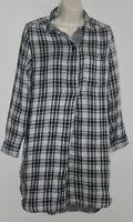 Madewell  Popover Shirt Dress Window Pane Plaid Small Womens Black White