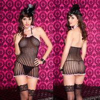 One Size Regular Spandex Black Halter Neck Chemise Mini Dress Lingerie ML56098
