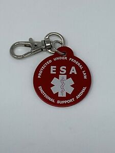 Double Sided Emotional Support Animal (ESA) Red Pet Dog Cat Keychain