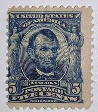 Travelstamps: 1902-03 US Stamps Scott # 304 Lincoln MINT, OG, MNH, 5 cent