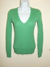 J.CREW 100% CASHMERE FRESH GREEN V-NECK LONG SLEEVES CABLE KNIT SWEATER XS