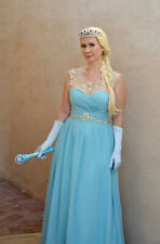 Ice Princess Costume Gown Dress Frozen Elsa Aqua Wig Halloween Sz 10 M Crown