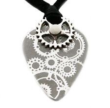 Steampunk médiator plectre en métal aluminium collier pendentif cordon réglable