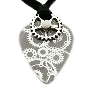 Steampunk Guitar Pick Plectrum Metal Aluminium Pendant Necklace Cord ADJUSTABLE