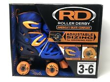 Roller Derby Quad Skates adjustable size 3-6 Blue/Orange ~New~
