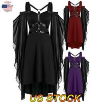 US Women Halloween Cold Shoulder Gothic Steampunk Midi Dress Cosplay Party Dress