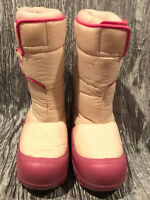 Vintage 80s Sweet Hearts White Pink Snow Boots Touch Fasten Girls Youth Size 3