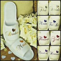 WHITE WEDDING SLIPPERS PERSONALISED REAL GLITTER HEART NOVELTY BRIDAL OPEN TOE
