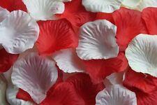 100 X Marfil y Rojo Pétalos de Rosa de Seda Decoración de Mesa Confeti de Boda