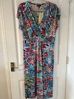 BNWT POMODORO Bright Blue Pink Floral Summer Midi Dress, Size 16 RRP: £39