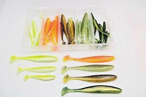 Kunstköderset - Gummifische 30 Stück in PVC Box Spinnfischen Barsch Hecht Zander