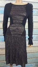 BCBG MAXAZARIA Medium Black And Silver Rayon Blend Knee Length Sheath Dress