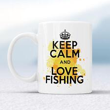 Keep Calm Y Amor Pesca Splash Taza Regalo Fisher Angler Taza de peces presentes