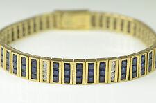 "14K YELLOW GOLD DECO BLUE & WHITE SAPPHIRE BRACELET 19.8 GRAM 7.25"" LONG"