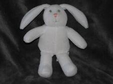 "Baby Gap White Soft Stuffed Plush Bunny Rabbit Velour Pink Nose Gray Eyes 6"""