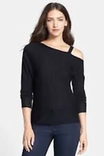 Eileen Fisher blue merino asymmetrical bateau neck off the shoulder sweater M