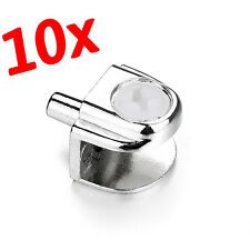 10Pcs Half Round Glass Clamp Clip Bracket with Pole for 8-10MM Glass Thickness