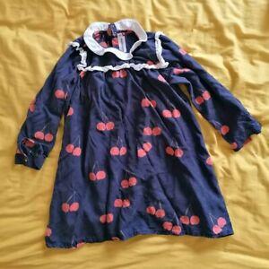 Mini Rodini Girls organic Blue Cherry Bib Cotton Smock Dress Tunic 5 yrs 116/122