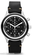 Fossil JR1440 Compass Black Dial Leather Strap Chronograph Men's Watch
