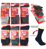 3 Pairs Men Heated Sox Thermal Winter Thick Heavy Duty Fur Lined Crew Socks New