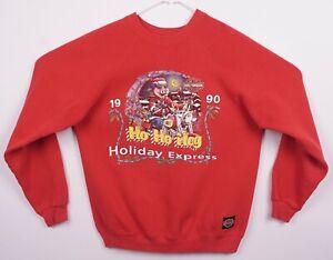 Vintage 1990 Harley-Davidson Men's Large Hog 3D Santa Red Crewneck Sweatshirt
