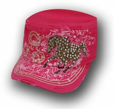 PINK Ladies Military Cadet Style Hat W/ Rhinestone Horse Design! NEW