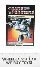 Jazz Action Figure Vintage Instruction Manual Booklet 1984 G1 Transformers