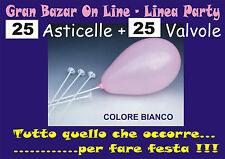 ASTE E VALVOLE per PALLONCINI  colore BIANCO 25 Pz. FESTA PARTY ANIMAZIONE