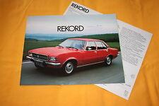 Opel Rekord 1974 Prospekt + Datenblatt Brochure Catalogue Depliant Catalog