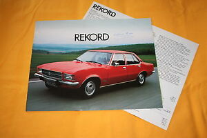 Opel Rekord 1974 Prospekt + Datenblatt Brochure Catalogue Depliant Catalog