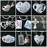 LOVERS COUPLES SET OF 2 HEART & KEY I LOVE YOU KEYRINGS 25+ DESIGNS GIFT BOXED