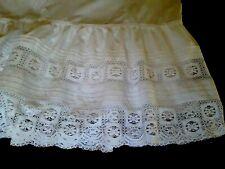 ANCIEN FOND DE JUPON en coton plis religieuse & dentelle Old cotton petticoat