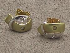 9carat 9k Yellow & White Gold Diamond Set Fancy Post & Butterfly Earrings