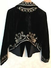 Balmain Velvet Embellished Jacket/ Peacock Design Silver & Beads/ UK14 /FR 42