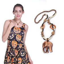 Boho Wood Elephant Pendant Bead Long Ethnic Style Sweater Necklace Jewelry Women