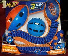 Nerf Dog 3 Toy Set Crunch & Squeak Ball & Football - Squeak Tuff Tug Football
