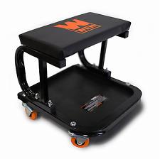 Mechanic Creeper Seat Garage Rolling Work Shop Stool Cart Tray Onboard Storage