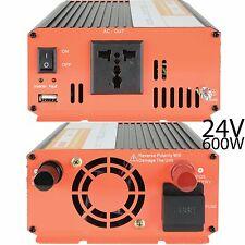 600w INVERTITORE DI POTENZA - 24v DC a 230v & USB-AUTOCARRO CAMION CARAVAN Convertitore Adattatore