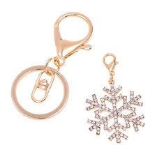 Women's Handbag Key Ring Charm Crystal Snowflake Pendant Multifunction Keychain~