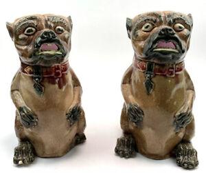 Victorian Early Staffordshire Majolica Pair Glazed Pug Dog Jugs Restoration X 2