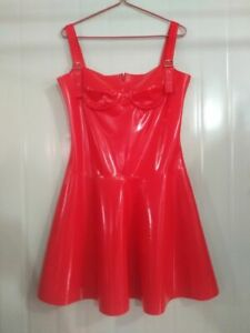 100%Latex Rubber Dress Gummi Rot Sexy Sleeveless Schlinge Falten kurz Kleid0.4mm