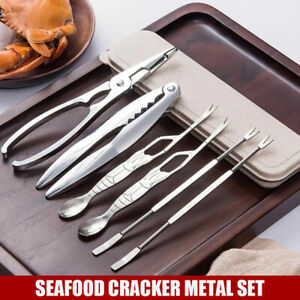 6tlg Edelstahl Seafood Meeresfrüchte Besteck Set Krabbe Krebse Hummer Zange