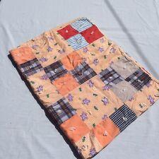 "Patchwork Squares Tied Quilt 38"" x 50"" Vintage Handsewn Plaid Gingham Dots"